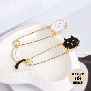 Silly Cat Safety Pin (Black & White series)