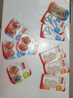 NUK pacifiers, bottle teat, nail snippers BNIB