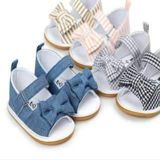 Stock Now Available for Baby Girl Bow Knots Baby Shoe - Cotton Sandals