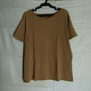 Vneck top (color: brown)