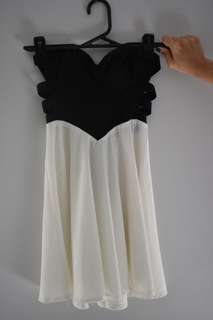 Strapless black and white dress cut out sides skater