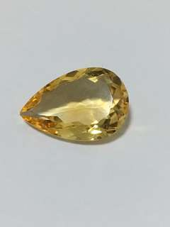 Loose pear shaped faceted citrine