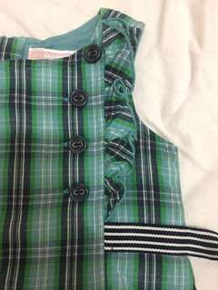BABY OLD NAVY: Green checkered dress (6-12months)