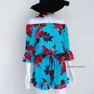 Bluee Off Shoulder Romper
