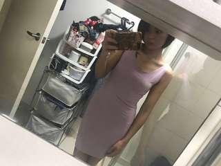 Crepe Pink Body Con Dress