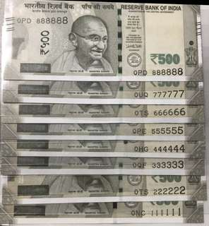 0 prefix  fancy no 111111 to 888888 Unc. Indian new 500 Rupees notes