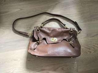 Miu Miu brown leather messenger Bag 三用皮袋
