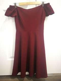 off the shoulder maroon dress