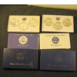 美國造幣廠1983年和1984年洛杉磯6枚硬幣奧運銀幣套裝盒COA , 每件港幣300元