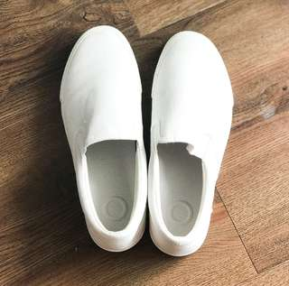 Muji white slip on sneakers