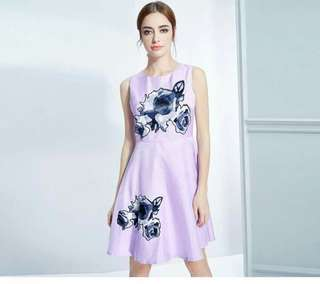 Patch print dress