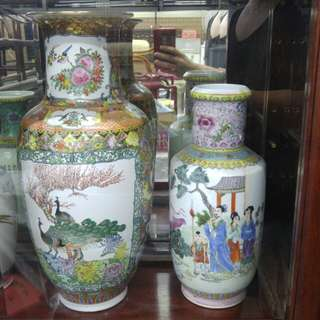 中國廣彩 - 孔雀花瓶