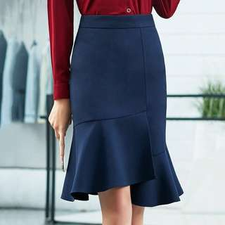 Dark Blue Corporate Skirt with Flare Hem