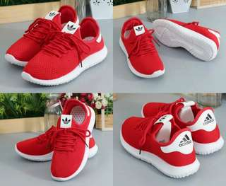 Brooked red sneakers