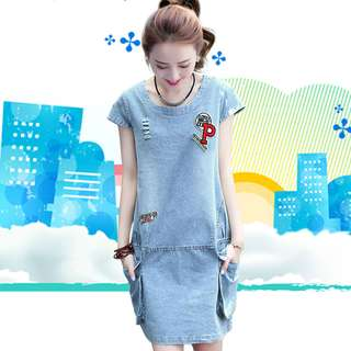 🚚 2018大碼夏季女裝新款 韓版寬鬆休閒短袖顯瘦牛仔連衣裙