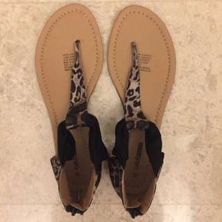 Leopard Print Open Toe Sandals