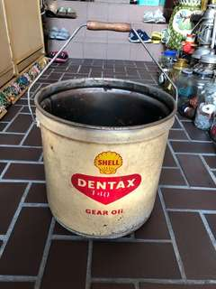 Rare!! Vintage original Shell Dentax Gear oil tin bucket