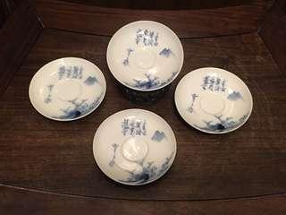 舊日本青花手繪茶杯托四個