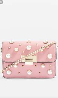 Topshop pearl studded crossbody in pink