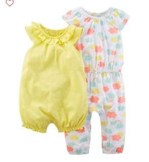 *9M* Brand New Carter's 2 Pack Romper and Jumpsuit Set For Baby Girl