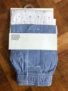 Brand New Auth H&M 2-pack Woven Boxer Shorts