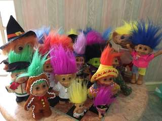 Vintage Troll Collection- Lot of 20 multiple sizes Trolls