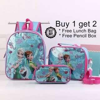 Frozen Cartoon Elsa Anna Zipper School Bag Backpack 3 Pcs Set Blue