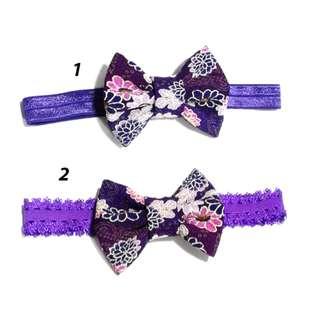 Handmade Korean Style Japanese Kimono Flower Purple Zan Wind Crepe Fabric  Hair bow Elastic Headband