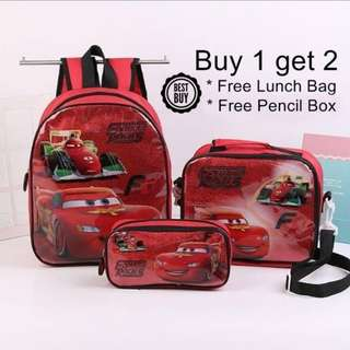 Cars Cartoon Zipper School Bag Backpack 3 Pcs Set
