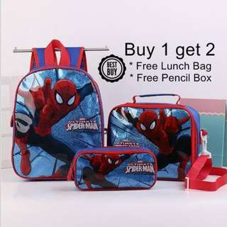 Spiderman Cartoon Zipper School Bag Backpack 3 Pcs Set