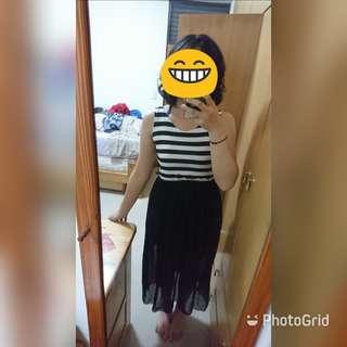 黑白條文雪紡無袖長裙
