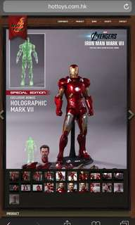Hot toys iron man mark vii 1/6th scale limited edition collectible figurine mms185.  Hottoys Ironman