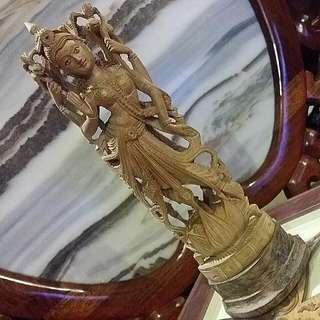 Indian Goddess Laksmi wood Carving .. Goddess  Of Wealth Fortune  And Prosperity