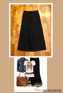 Long Black Skirt with Lining and Slit at the Back (Size M)