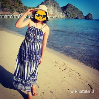 海島度假風圖騰抽繩長洋裝