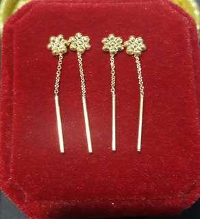 18k chinse gold tick tack earings