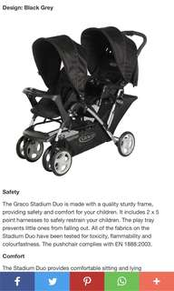 Brand New Graco Stadium Duo Tandem Stroller- One Hand Fold (Black Grey)