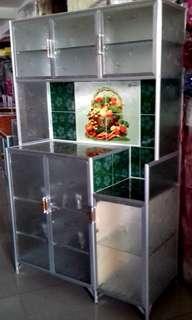 Rak Piring Aluminium Keramik 3 Pintu Kaca Es 100-160