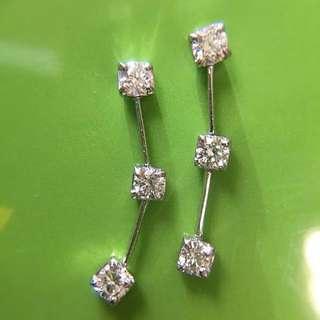 靚靚 Platinum Pt900 鉑金 天然鑽石耳環一對