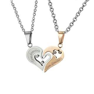 🆕 Stainless Steel  Love Devotion / Heart Couple Pendant Necklace - Silver / Rose Gold