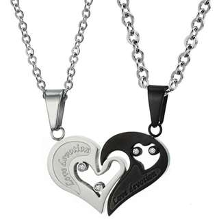 🆕 Stainless Steel  Love Devotion / Heart Couple Pendant Necklace - Silver / Black