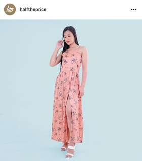 HTP Peach Floral Slit Maxi Dress