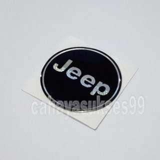Sticker Timbul Logo JEEP Warna Hitam Bulat 5cm Stiker Mobil Kilap Plastik Resin Tebal Harga Satuan
