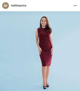HTP Maroon Sheath Dress with zipper