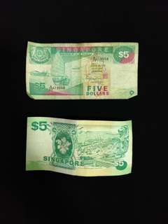 Singapore $5 ship old notes - 2 notes