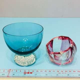美國 手造 玻璃 雪糕 杯 煙灰缸 甜點 glass ware ashtray