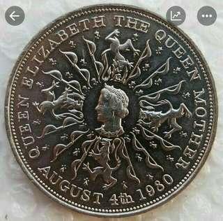 英國1981年年英皇太后八十大壽纪念幣大鎳幣全新
