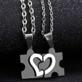 Stainless Steel  Jigsaw Puzzle Love / Heart Couple Pendant Necklace
