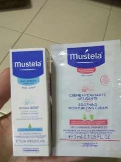 Mustela facial cream and soothing moisturising cream