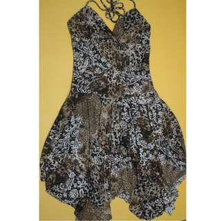 Animal Print Asymmetrical Summer Dress (Backless)